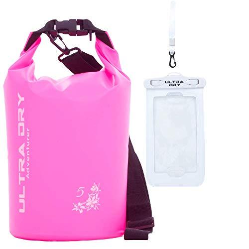 Wasserdichte Premium-Tasche, Tasche mit Handy-Trockentasche und langem verstellbarem Schultergurt, perfekt für Kajak/Boot/Kanufahren/Angeln/Rafting/Schwimmen/Camping/Snowboarding (Rosa, 5 l)