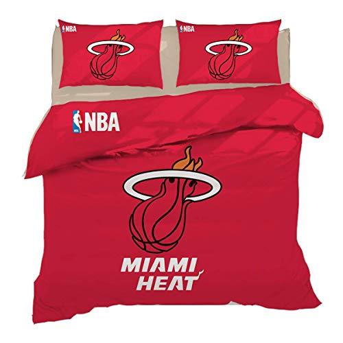 QWAS Miami Heat - Juego de funda nórdica y 2 fundas de almohada (1 funda nórdica y 2 fundas de almohada de 1,220 x 240 cm + 80 x 80 cm x 2)
