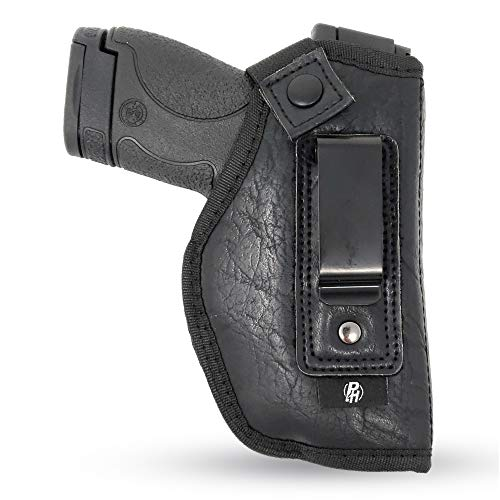 IWB Gun Holster by PH - Concealed Carry | Soft Interior | Fits M&P Shield 9mm.40.45 Auto/Glock 26 27 29 30 33 42 43, Ruger LC9, LC380 | Taurus Slim, PT111 | Springfield XD Series (Small) (Right)
