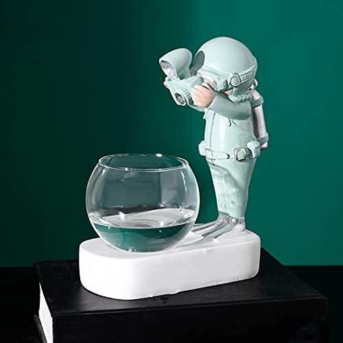 DKMDT Plantas de terrario, jarrón de astronauta con luz LED nórdica, plantas hidropónicas para mesa de oficina en casa (A)