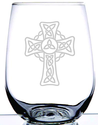 IE Laserware Irish Celtic Cross Laser Etched Engraved on Wine Glass, 17 Ounce Stemless Wine Glass - Great Gift For Irish Pride