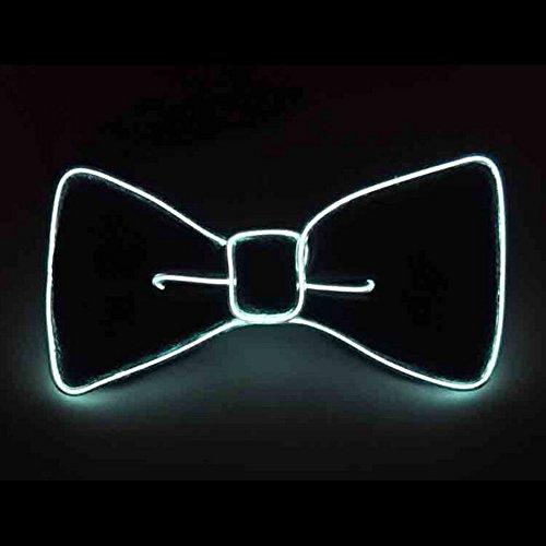 Glaray Leuchtend Krawatte Neuheit Einstellbar EL Draht LED Aufhellen Leuchtende Fliege (Weiß)
