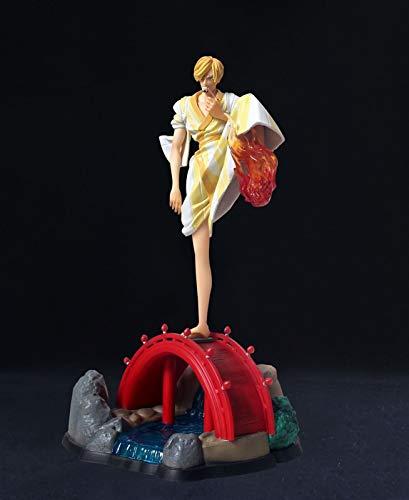 Kioiien One Piece Anime Figura Vinsmoke Sanji Kimono Ver 30 cm Modelo Modelo Mano Hecho A Mano Modelo Figurine Colección Regalos Cumpleaños Decoración de Escritorio Boxed