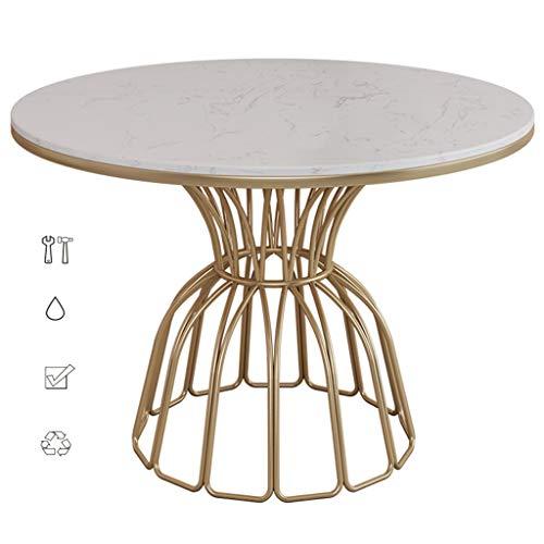 Kaffeetisch Marmor-Couchtisch Esstisch Lässiger Runder Tisch Café Runder Esstisch Verhandlungstisch Nordischer Stil (Color : Weiß, Size : 80 * 75cm)