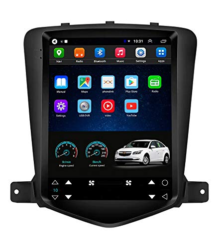 Topdisplay Android 9.1 Radio for Chevrolet Chevy Cruze 2009-2014 10.4inch Tesla Style Car in-Dash Console DVD Player Radio Stereo IPS Touch Screen 2+32GB Bluetooth WiFi GPS Navigation Build-in Maps