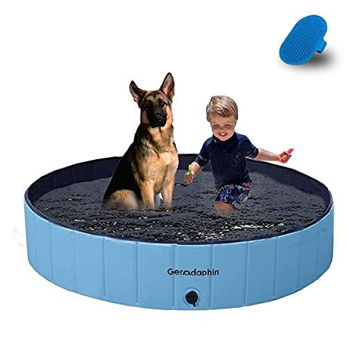 Gerodaphin Faltbare Hundepools für Große & Kleine Hunde, Klappbares Hund Planschbecken,PVC rutschfest Hunde Badewanne,Wasserbecken für Kinder und Hunde