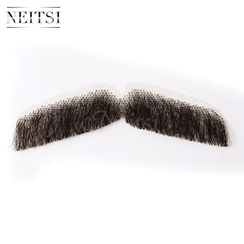 『Neitsi(ネイティス) 付け髭 ひげ 口髭 人毛 ウィッグ 髪製髭 手作り本物 コスプレ用ダンス用髭 1枚』の7枚目の画像