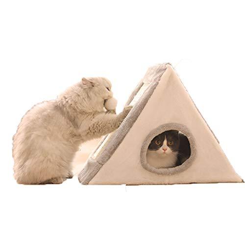 BFSHY Cama del Animal doméstico, Gato del Animal doméstico de la Perrera Nido Gato Rascar la Junta de Muebles, Triángulo Yurt, cálido Confort provisiones para Mascotas el Invierno,