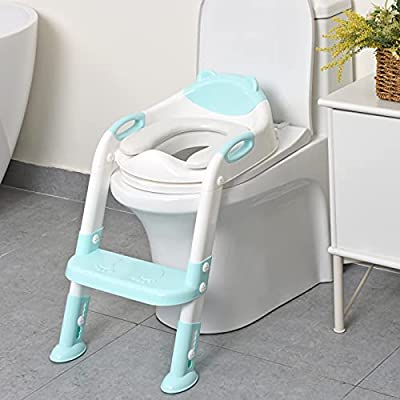 711TEK Potty Training Seat Toddler Toilet Seat with Step Stool Ladder,Potty Training Toilet for Kids Boys Girls Toddlers-Comfortable Safe Potty Seat Potty Chair with Anti-Slip Pads Ladder (Blue) by 711TEK