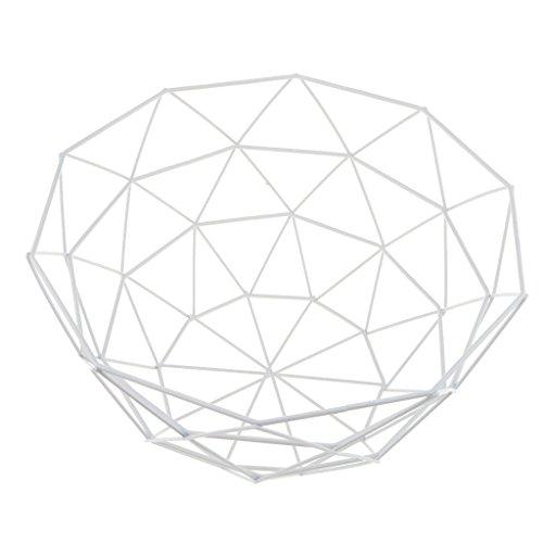 Baoblaze Design-Obstkorb Früchtekorb Obstschale aus Metall, 27x14cm - Weiß