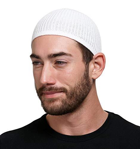 Muslim Bookmark Solid Colored Elastic Skull Cap Kufi Hats (White)