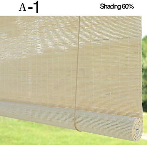 Holzoptik Jalousien, Home Hand Pull Roll Up Fenster Rollo Bambus Vorhang Jalousien Sonnenschutz Schatten Belüftung Balkon, 60 cm / 80 cm / 100 cm / 120 cm / 90 cm breit (Größe: B 60 & Times; H 2