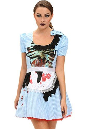 Fortuning's JDS® Zombie Kansas Mädchen Kurzarm Erwachsene Halloween Kostüm