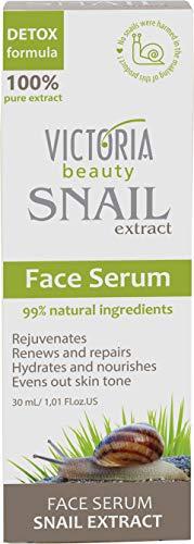Victoria Beauty – Anti-Aging Gesichtsserum mit Schnecken-Extrakt – Anti-Falten hochdosiertes Serum mit Schneckenschleim (1 x 30 ml) – spendet Feuchtigkeit und stellt die Elastizität der Haut wieder her