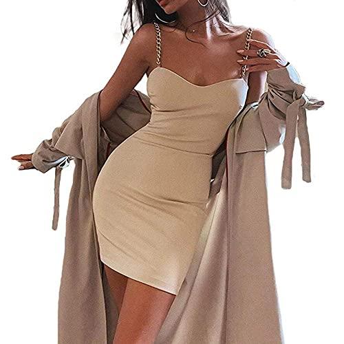 KingvonWomens - Cadenas de verano para mujer, correas de espagueti, delgadas, sin espalda, corte bajo, sin mangas, sexy, para fiesta, corto, bodycon, mini club, vestido de fiesta, vestido de verano