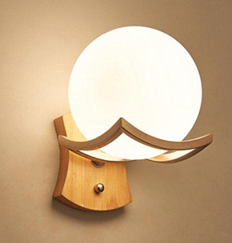 Lampe de mur de tête de lit moderne chinois lampe de mur en bois créative simple de LED, pour le couloir de couloir de salon de chambre à coucher, aucune ampoule de récipient