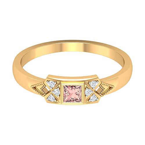 Anillo de morganita creado en laboratorio de 1/4 CT, anillo de diamante HI-SI, anillo de solitario de corte princesa de 3 x 3 mm, anillo de compromiso vintage, 18K Oro amarillo, Size:EU 51