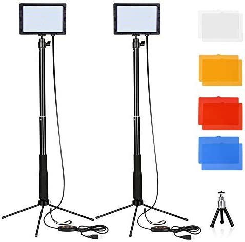 FUDESY 66 Video Lights Dimmable USB LED Panel Lamp with Adjustable Tripod Stand and 4 Color product image