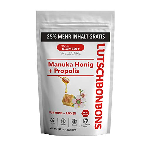 Purao Biomedi+ Manuka Honig MGO 400+ Lutschbonbons mit Propolis +25% mehr Inhalt gratis - wohltuend für Mund und Hals, 42 Bonbons (250g) im wiederverschließbaren ZIP Beutel