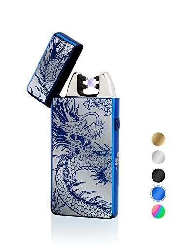 TESLA Lighter TESLA Lighter T05 Lichtbogen Feuerzeug, Plasma Double-Arc, elektronisch wiederaufladbar, aufladbar mit Strom per USB, ohne Gas und Benzin, mit Ladekabel, in edler Geschenkverpackung, Drache Blau Blau