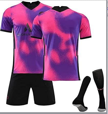 ACJIA Kit de Jerseys de fútbol Unisex Rosa/púrpura P-S-G 2020/21 Camisetas de Pareja de Pareja Jersey Souvenir Sportswear Camiseta Transpirable Camiseta de Manga Larga Top Chaleco-No Number,A,16