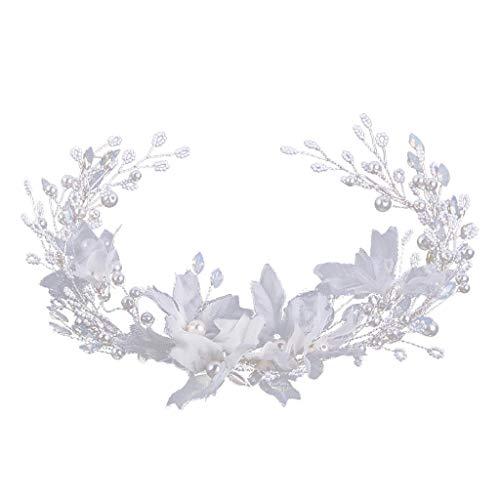 R-Cors Tocado de Novia para,48 cm Flor Blanca de Tocado de Princesa...