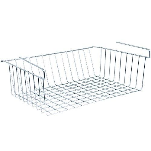 MSV Hängekorb aus Metall - 38x26x14cm - Silber - Aufbewahrungs-Korb für Küchenschränke Kleiderschränke Regale Unterbauschrank Unterbau-Regal