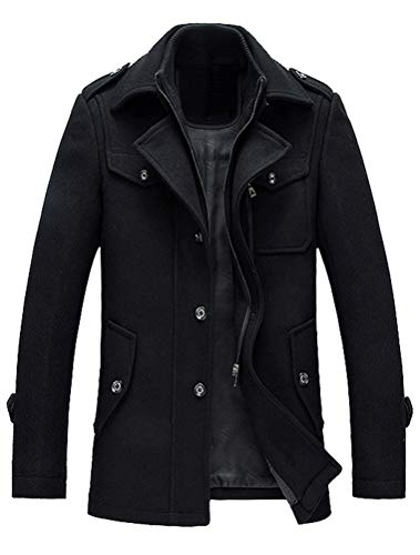 Lavnis Herren Warm Wollmantel Stehkragen Wintermantel Kurzmantel Winter Jacke Business Freizeit Style6 Black L