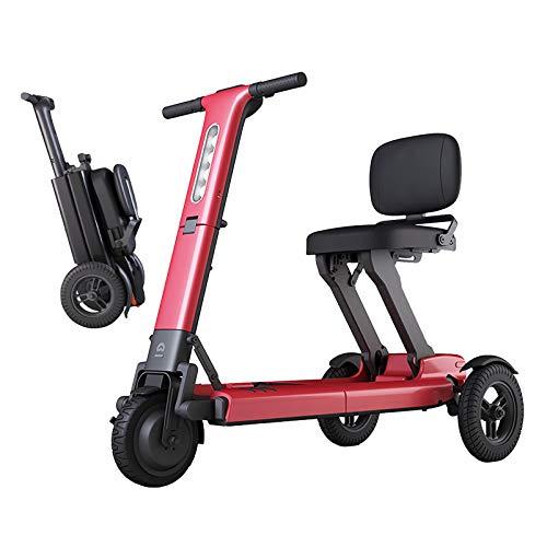 YF-Mirror Faltbare Hochleistungs-Elektromobil-Motorroller - Motorisierte leichte Mobilitätshilfsroller - Multi-Terrain Aviation Travel-Elektroroller mit langlebiger Batterie (rot)