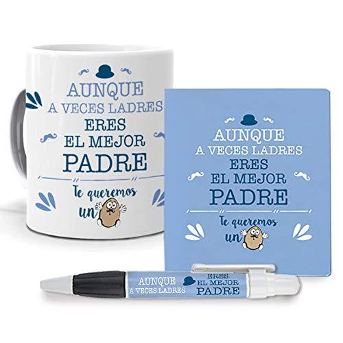 Mundohuevo Regalos Dia Del Padre - Taza, Libreta Mini Y Boli Aunque A Veces Ladres Eres El Mejor Padre