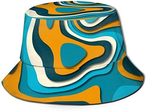 BONRI Atmungsaktive Eimerhüte mit flachem Oberteil Unisex-Schädel Sternenhimmel-Druck-Eimerhut Sommerfischerhut-Abstraktes Papier Art-One Size