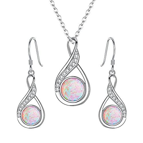 Clearine Conjunto de joyas de plata de ley 925 con ópalo, collar y pendientes para mujer,