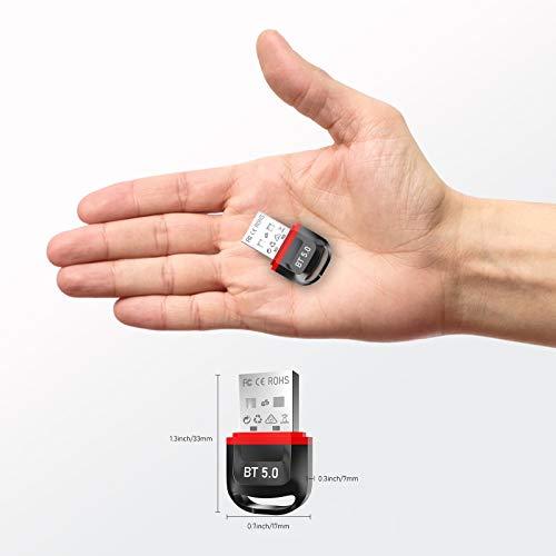 Aoyool Bluetooth Adapter, Bluetooth 5.0 USB Adapter Geeignet für Bluetooth Empfänger und Sender für Desktop, Maus und Tastatur, Laptop, Drucker, Headset, Sprecher, unterstützt Windows 10/8.1/8/7