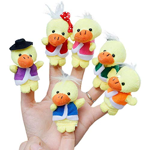 Ahagut 6 uds Marionetas de Dedo de Animales Dibujos Animados Patos Suaves muñecas Accesorios Miembros de la Familia Juguetes educativos