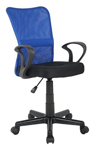 SixBros. Bürostuhl,Schreibtischstuhl, Drehstuhl für's Büro oder Kinderzimmer, stufenlos höhenverstellbar mit Armlehnen, Schreibtischstuhl für Kinder aus Stoff, blau/schwarz, H-298F-2/2120
