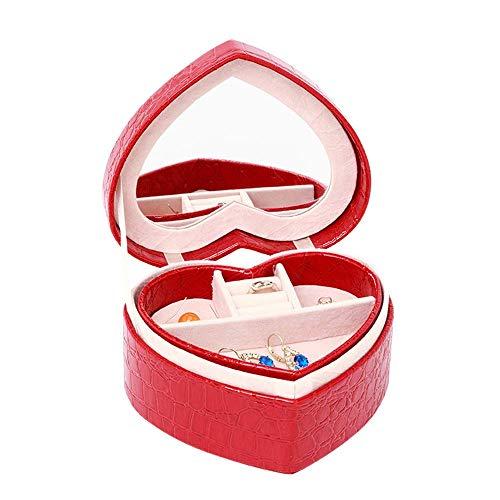 GPWDSN Schmuckschatulle Herzförmige Reisende Schmuckschatulle Etui und Vitrine mit Spiegel für Ohrringe Uhr Halskette Juwelen Schmuck Alter Box Zubehör (rot)