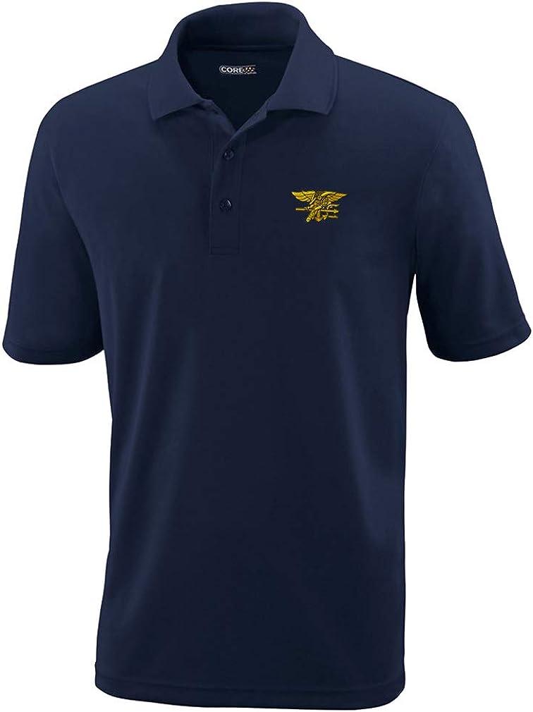 Polo Performance Shirt U.S. Albuquerque Mall Navy Design Polyeste Embroidery Seal Max 78% OFF