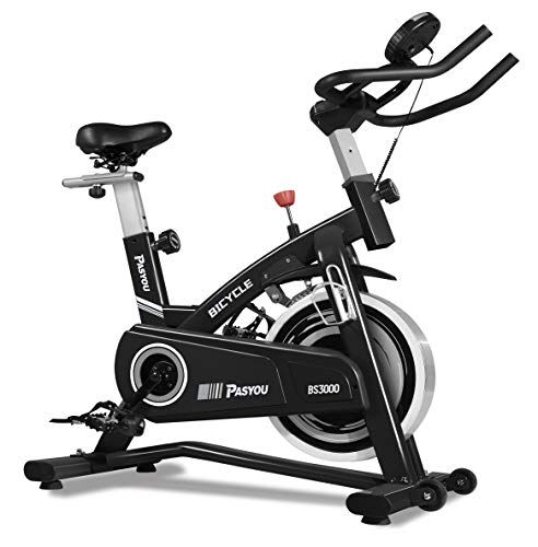 PASYOU Exercise Bike Belt Drive Indoor Cycling Bike with Magnetic Resistance for Home Workout (Color: Black)