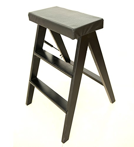 WUDENG Escabeau Chaises pliantes en bois massif Ascendant 3 couleurs disponibles 40x20x63cm (Couleur : Black)