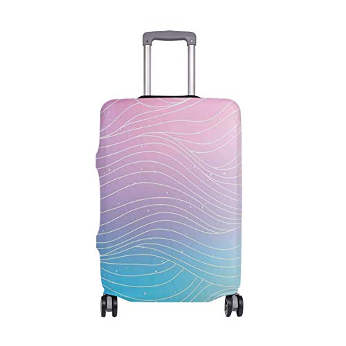 SUHETI Suitcase Cover Luggage Cover (Without Suitcase),Nebula Sky Inspired Ombre Effect Pattern with Waves and Spots,S(18-20 in)