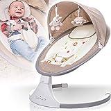 Balançoire pour bébé (entièrement automatique 240 V) avec baldaquin musique via port USB, 12 mélodies, 5 intensités de balançoire, fonction minuteur et télécommande (beige mélangé)
