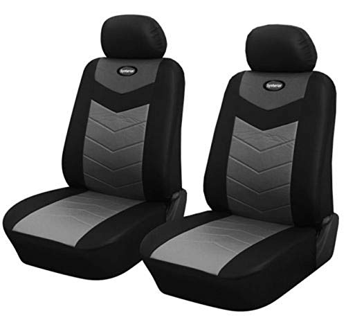 Sharpercars2 Leather Like 2 Front Auto Car Seat Covers Fit for 2007-2021 Ram 1500 2500 (0157-Black)