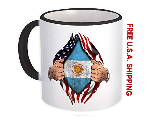 Argentina : Regalo Tazza : Bandiera USA American Chest Argentina Expat Country