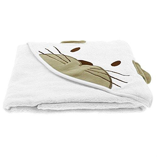 Pippi Baby Unisex Handtuch mit Tierkapuze, 80x80 cm, Farbe: Weiß, 1488