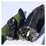 100 g - 500 g de Cristal de Cuarzo Natural Negro racimo Reiki lemurian Hadas Prisma de semilla de Piedras y minerales for la decoración del hogar Cristal (Color : About 400g)