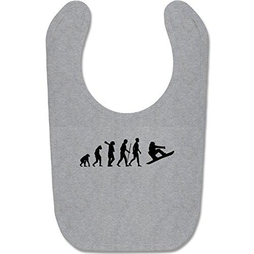 Shirtracer Evolution Baby - Evolution Snowboard - Unisize - Grau meliert - snowboard baby - BZ12 - Baby Lätzchen Baumwolle