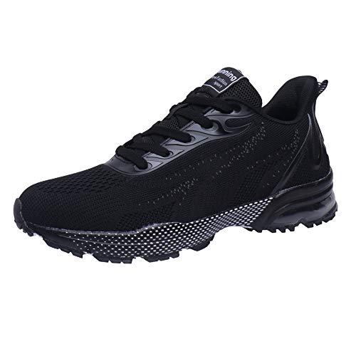 VVQI Laufschuhe Herren Damen Sneaker Sportschuhe Turnschuhe Mode Leichtgewichts Freizeit Atmungsaktive Fitness Schuhe 45 EU 006 1 Schwarz