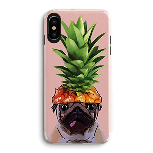 iPhone XR Case for Girls,French Bulldog Girls Pineapple Fruit Hat Pug Pet Dog Tropical Funny Upper Pineapple Cute Summer Hipster Hawaii Fruit Clear Case Compatible for iPhone XR