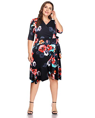 LECCECA Women's Plus Size Wrap Dress V Neck Short Cocktail Party Casual Whimsy Dresses
