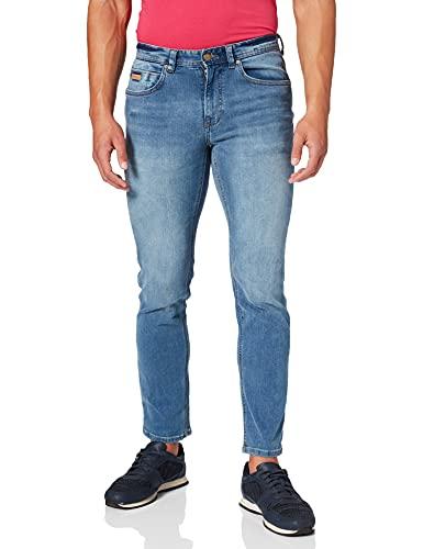 Springfield Jeans Slim Lavado Pantalones, Azul Medio, 34